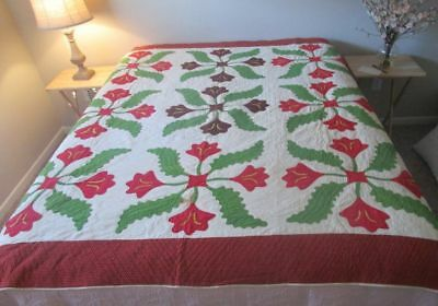 Antique Red and Green Pre-Civil War Quilt Applique Tulips 1850-60