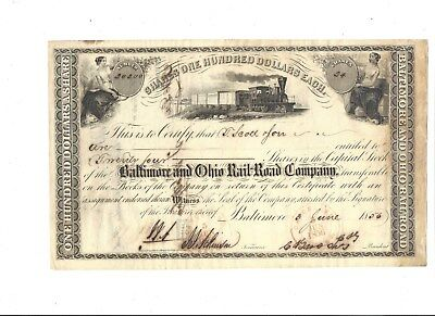 1856 B&O Railroad Co. Stock Certificate signed by 5th President Chauncy Brooks