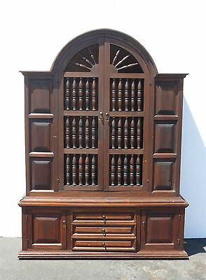 Vintage SPANISH Revival Rustic CHINA CABINET Bookcase Buffet Curio STORAGE Unit