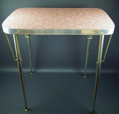 Vintage 1950's Pink Formica Chrome & Aluminum Small 2 Person Dining Table
