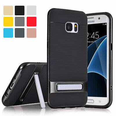 For Samsung Galaxy S6 S7 Edge S8 Plus Silicone Shockproof Stand Soft Case Cover