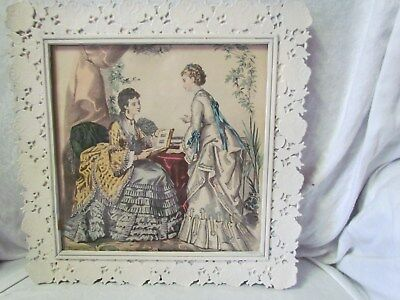 """Pair Of Victorian Prints In White Filigree Pictures Frames 12 """" Square Wood Frms"""