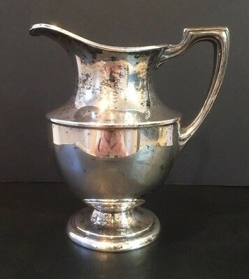 """Vintage Crescent Silverplate Pitcher 5-1/2"""" Tall Signed On Bottom NICE!"""