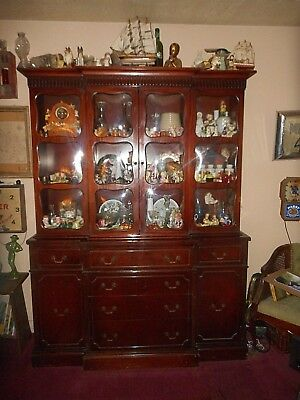 Antique China Closet Cabinet/Secretary Rare 12 Bubble Glass Panels 7 Doors OFFER