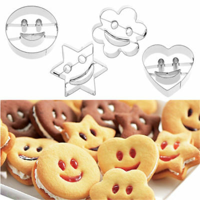 4Pcs Stainless Steel Emoji Biscuit Cookie Cutter Smiling Face cake Decor Mould