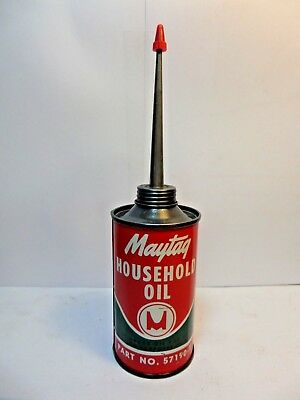 VINTAGE VERY RARE 1940's MAYTAG HOUSEHOLD OIL TIN CAN HANDY OILER METAL TOP 3oz.