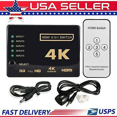 5 Port 4K UHD 3D 1080p HDMI Switcher Switch Selector Splitter Hub iR Remote HDTV