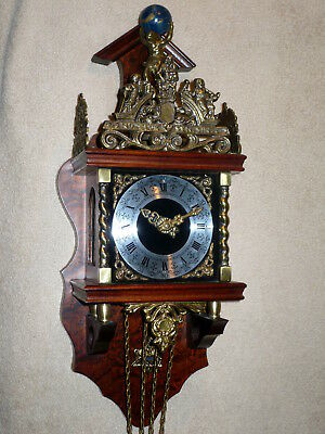 Vintage Zandaam Zaanse Dutch 8 Day Wall Clock ~ Runs Well ~ Weights Not Included