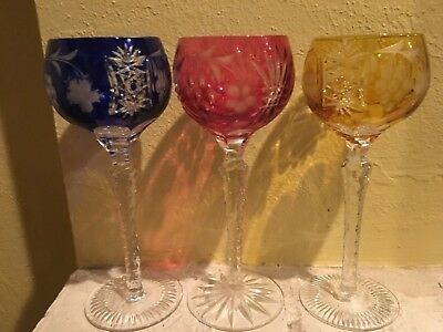 Vintage Bohemian Czech Set of (3) Multi Color Cut to Clear Crystal Wine Goblet