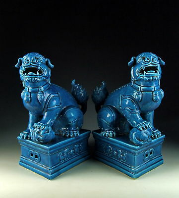 Amazing China Antiques Pair of Peacock-Green Glazed Porcelain Foo Dogs