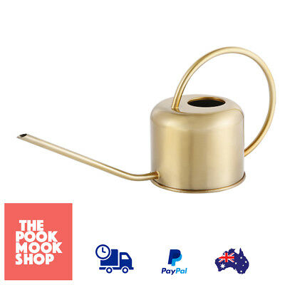 Brass Effect Watering Can Stainless Steel Long Spout Garden Decor Plant Sprinkle
