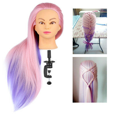 "24"" Long Colorful Hair Hairdressing Training Practice Head Mannequin & Clamp AU"