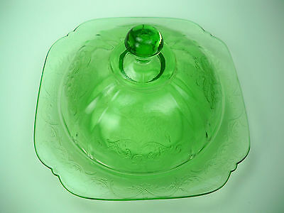 Depression Federal Glass Madrid Original Green Covered Butter Dish
