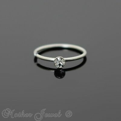 Solid 925 Sterling Silver Simulated Diamond Nose Helix Rook Daith 8Mm Ring