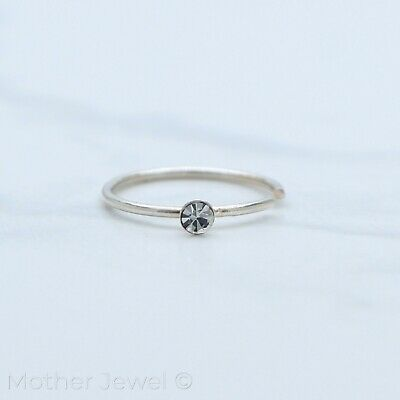 Solid 925 Sterling Silver Simulated Diamond Nose Helix Rook Daith 10Mm Ring