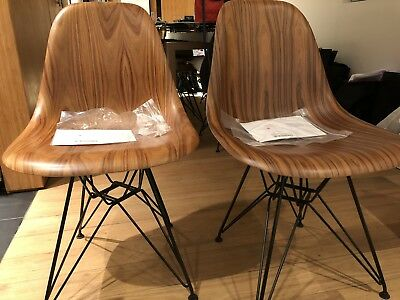 Two (2) Herman Miller Eames Molded Wood Side Chairs