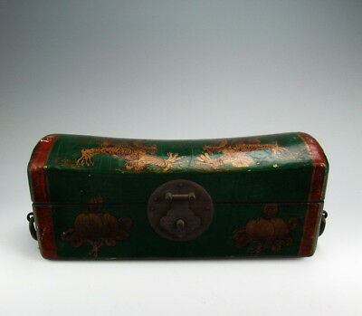 Chinese Antique Wooden Box with Dragon Pattern