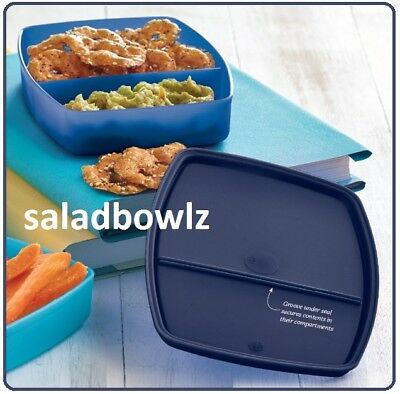 """TUPPERWARE New SIDE BY SIDE DIVIDED CONTAINER 6.5 x 5 x 1.25"""" in INDIGO BLUE"""