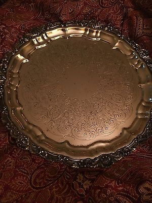 """Vintage Poole Hollowware Silver EPCA 12"""" Round Footed Serving Tray #3209"""