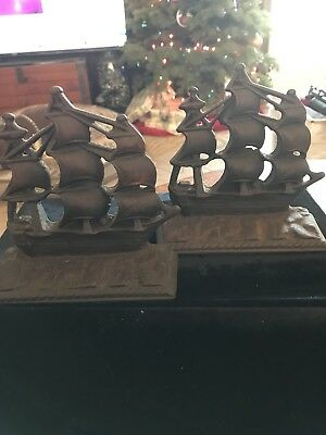 Antique Arts & Crafts Cast Iron Ship Nautical Vintage Bookends Bron Met