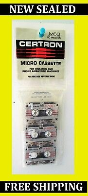 Certron Micro Cassettes M60 X 3 For Dictation and Phone Answering Machines  NEW