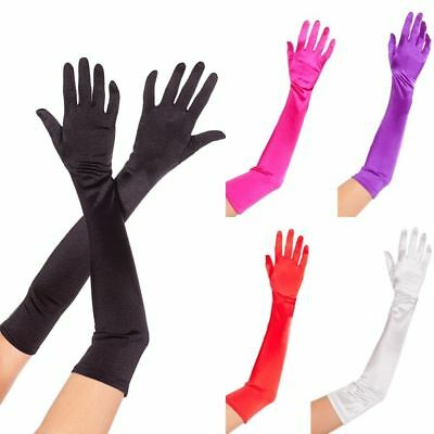 Stretch Satin Gloves Wrist Elbow Opera Extra Long Evening Party Fancy Costume UK