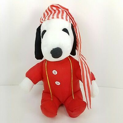 Snoopy Peanuts Whitmans PJs Stocking Cap Plush Stuffed Animal Christmas Holiday