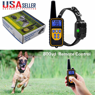 800m Waterproof Rechargeable Dog Remote Shock Training Collar Kit Pet Trainer US