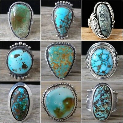 Vintage 925 Sterling Silver Turquoise Gemstone Ring Wedding Women Jewelry Sz6-10