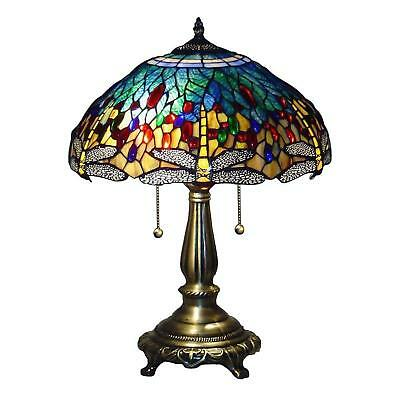 Tiffany Table Lamp Stained Glass Blue Dragonfly 23 in. Bronze Handcrafted Shades