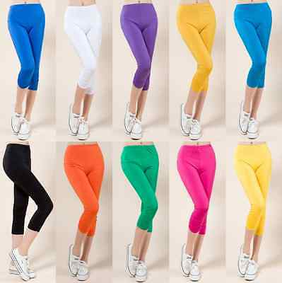 Womens Cropped 3/4 Capri Length Leggings sports Skinny slimming Pants Trousers