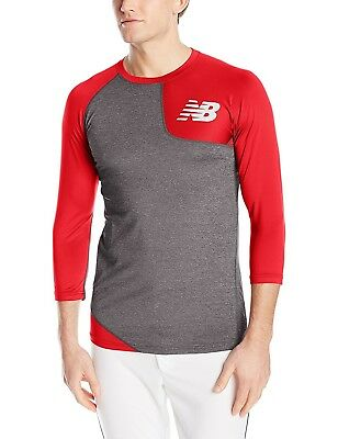 (Large, Team Red) - New Balance Mens Asym Baseball Left Shirt. Delivery is Free