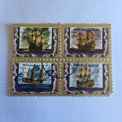 Postage Stamp Collectable Umm Al Qiwain Tall Ships