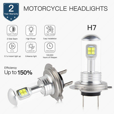H7 Motorcycle LED Headlight Bulbs High Beam CREE Chips 1500LM 80W Pure White