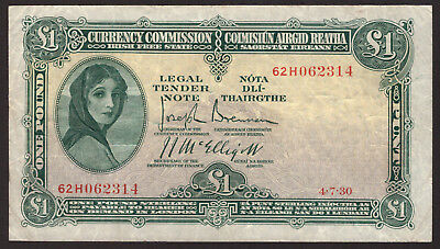 Ireland Currency Commission Irish Free State £1 One Pound Note 1930 VF