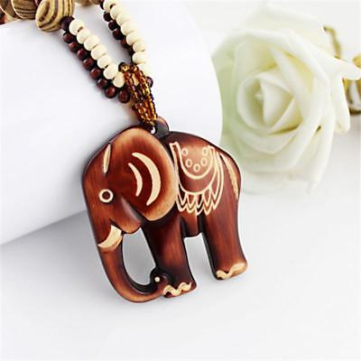 SALE! 50% OFF! Boho Hand Carved Wood Elephant Necklace! UNIQUE AND EYE-CATCHING!