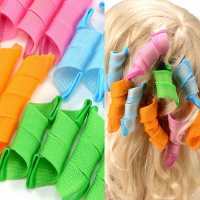 18pcs Magic Hair Curlers Rollers Styling Set Spiral Ringlet Hairband Tool New