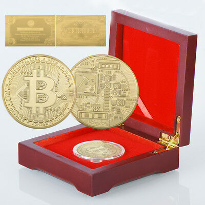 WR Gold Plated Bitcoin BTC Coin Collectible In Wooden Box Birthday Gifts Dad Men