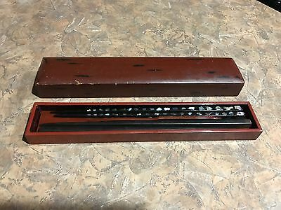 Vintage Set -2 Pairs of Black Chinese Chopsticks in Brown Wooden Case - Reduced