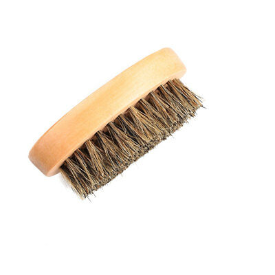 Men's Natural Boar Bristle Beard Mustache Brush Military Round Wood Handle