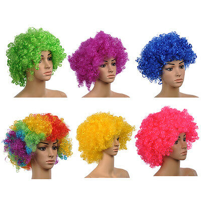 Party Disco Afro Clown Hair Football Fan Adult Halloween Masquerade Wig