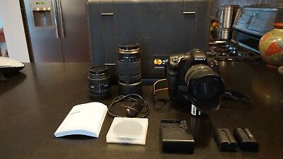 Sony Alpha SLT-A77 24.3MP Digital SLR Camera - Black, DSLR and 3 lenses