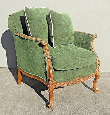 Vintage French Louis XV Style Carved Wood Forest Green Velvet Arm Chair w Pillow