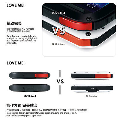 LOVE MEI Water/Shockproof Dual Aluminum Metal Case+Tempered Glass Cover Black FY