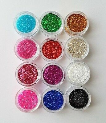 Fine Glitter Dust Powder for Nail Art, Arts and Crafts. Choose from 12 colours