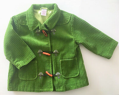 Gymboree Peacoat ~ Corduroy Jacket Green with MUSHROOM Appique ~ 2T Barely Used