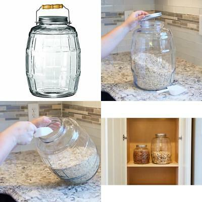 2.5-Gallon Glass Barrel Jar w/Lid Vintage Pickle Canister Large Handle Clear Urn