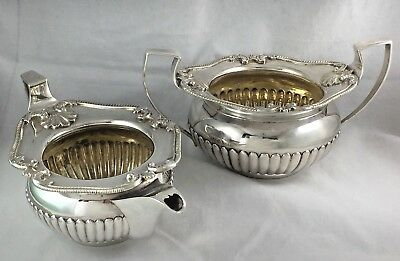 Georgian London 1806 English Sterling Large Creamer & Sugar Bowl- 22.3 troy oz