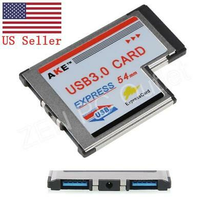 ExpressCard 54mm 2 Ports USB 3.0 Hidden Adapter For Laptop Notebook US Stock