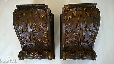 Pair Extraordinary Interior Corbel Layered Oak Leaves Old Architectural Salvage